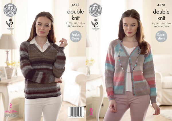 King Cole 4573 - Ladies Sweater & Cardigan in Sprite DK Pattern - The Crafty Knitter Ltd - 1