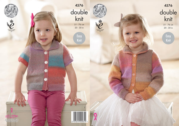 King Cole 4576 - Childrens Cardigans in Sprite DK Pattern - The Crafty Knitter Ltd - 1