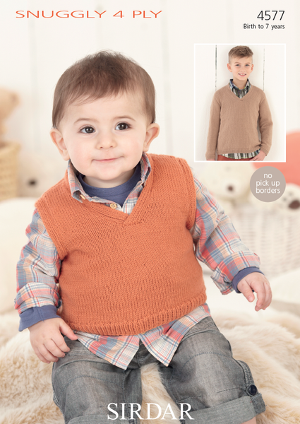 Sirdar 4577 - Baby / Childrens Jumper & Slipover in Snuggly 4 Ply Pattern - The Crafty Knitter