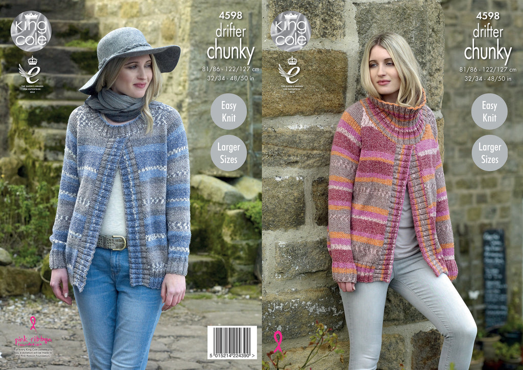 01d5769c9abdf King Cole 4598 - Ladies Sweater Jackets in Drifter Chunky Pattern - The  Crafty Knitter Ltd