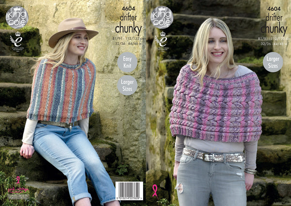 King Cole 4604 - Ladies Capes in Drifter Chunky Pattern - The Crafty Knitter