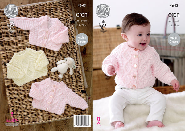 King Cole 4643 - Babies Cardigan & Sweater in Aran Knitting Pattern