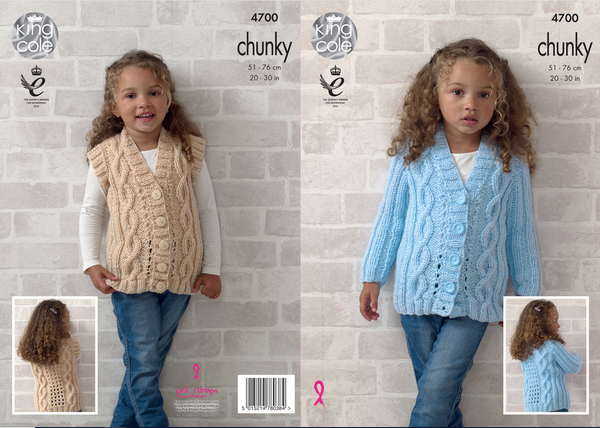 King Cole 4700 - Girl's Cardigan & Waistcoat in Chunky Knitting Pattern