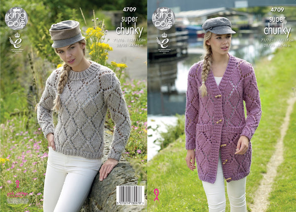King Cole 4709 - Jacket & Sweater in Super Chunky Knitting Pattern
