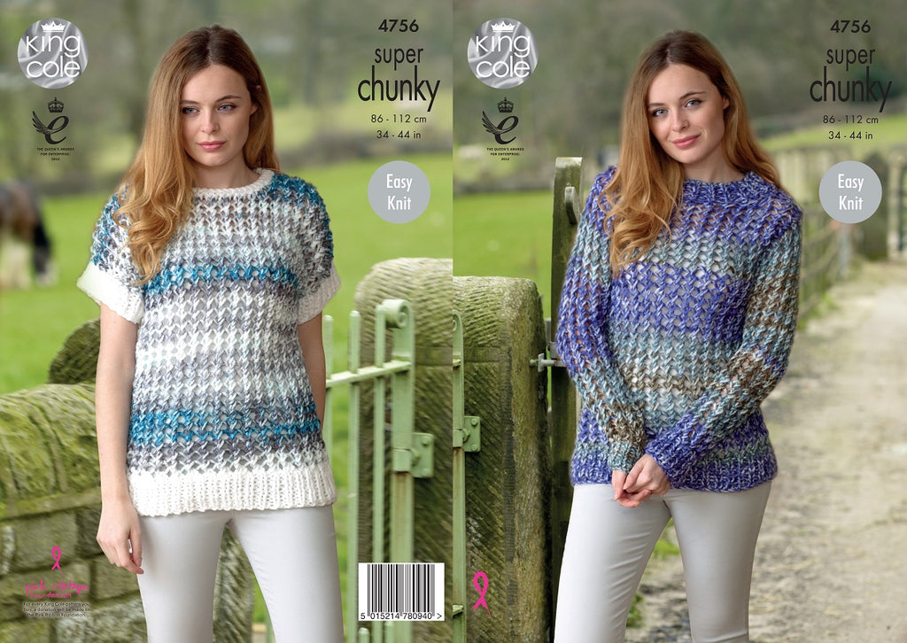 0f6752ae7 King Cole 4756 - Sweater   Short Sleeve Top in Super Chunky Knitting P –  The Crafty Knitter