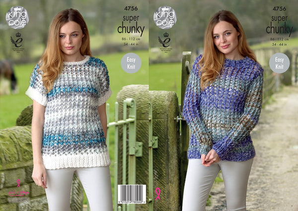King Cole 4756 - Sweater & Short Sleeve Top in Super Chunky Knitting Pattern