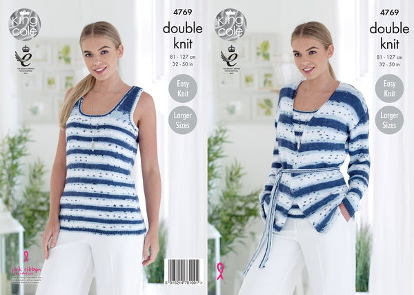 King Cole 4769 - Ladies Slipover & Jacket in DK Pattern - The Crafty Knitter