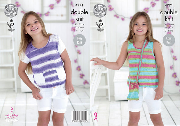 King Cole 4771 - Girls Slipover Tops in DK Pattern - The Crafty Knitter
