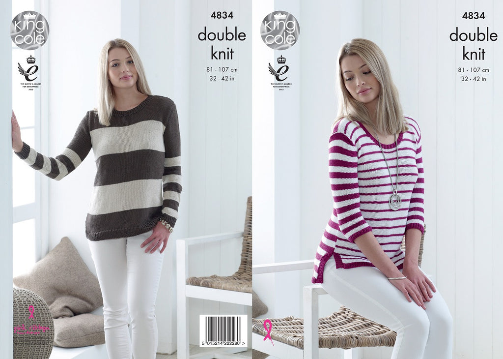 King Cole 4834 - Ladies Sweaters in DK Yarn Pattern - The Crafty Knitter