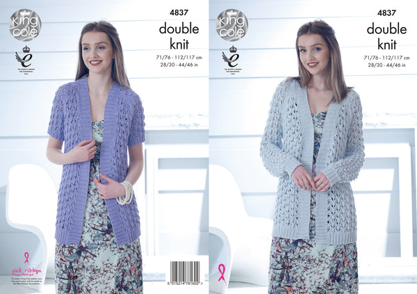 King Cole 4837 - Ladies Cardigans in Cottonsoft DK Pattern