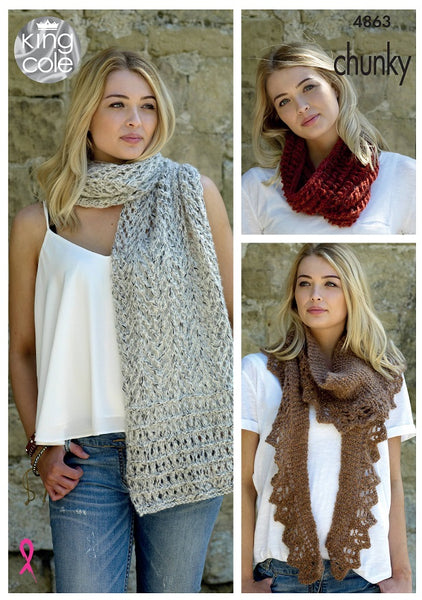 King Cole 4863 - Ladies Scarf, Shawl & Snood in Indulge Chunky Pattern