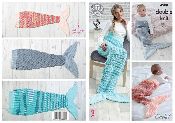 King Cole 4908 - Crochet Mermaids Tail Blankets in DK Yarn Pattern - The Crafty Knitter