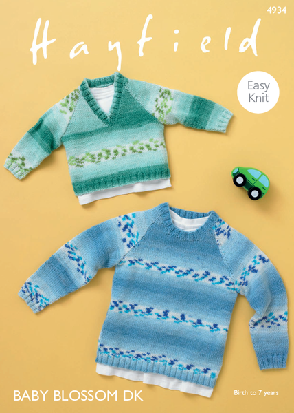 Hayfield 4934 - Baby & Boy's Raglan Sweaters in Hayfield Baby Blossom DK Pattern