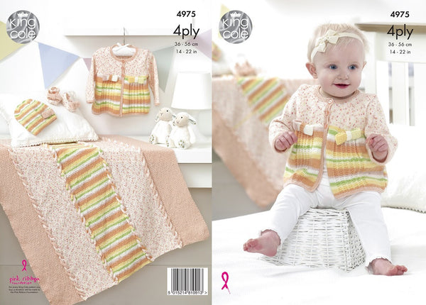 King Cole 4975 - Babies Jacket, Hat, Shoes & Blanket in 4 Ply Pattern - The Crafty Knitter