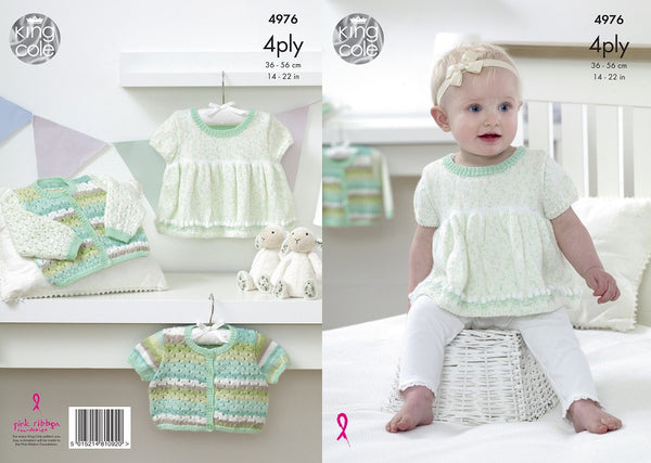 King Cole 4976 - Babies Dress & Cardigan in 4 Ply Pattern - The Crafty Knitter