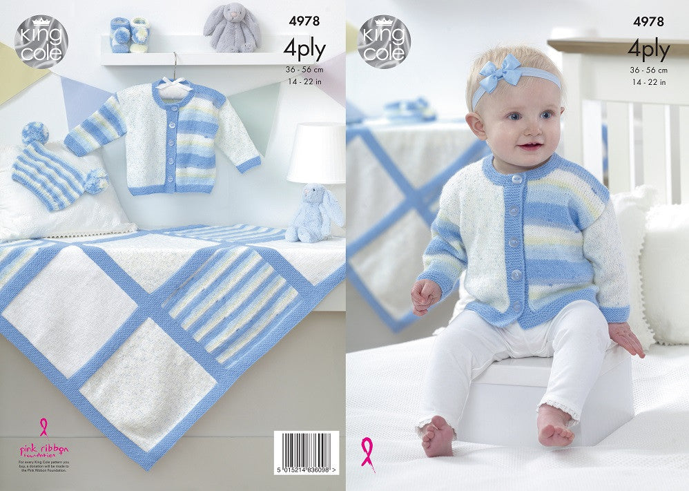 King Cole 4978 - Babies Jacket, Hat, Bootees & Blanket in 4 Ply Pattern - The Crafty Knitter