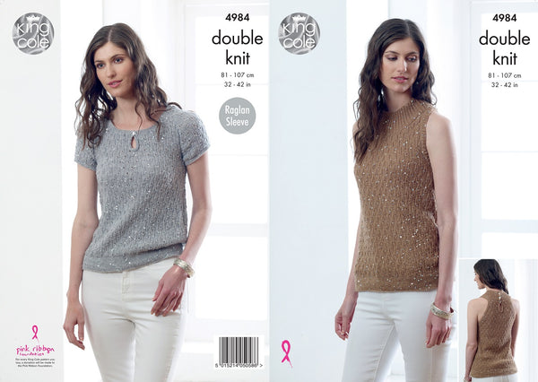 King Cole 4984 - Ladies Tops in DK Yarn Pattern