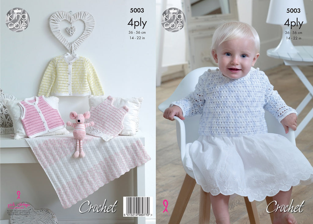 King Cole 5003 - Pinafore Dress, Sweater, Cardigan ,Waistcoat & Blanket in 4 Ply Pattern
