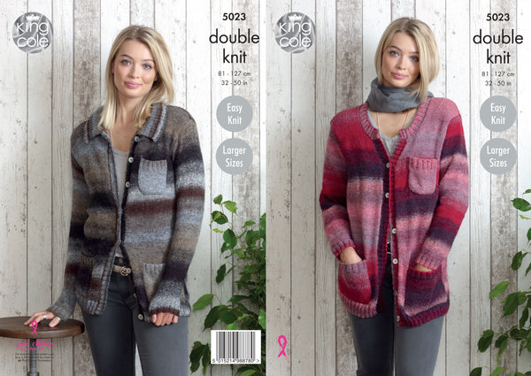 King Cole 5023 - Ladies Cardigans in Sprite DK Pattern