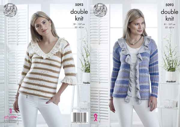 King Cole 5093 - Ladies Sweater & Cardigan in DK Yarn Pattern