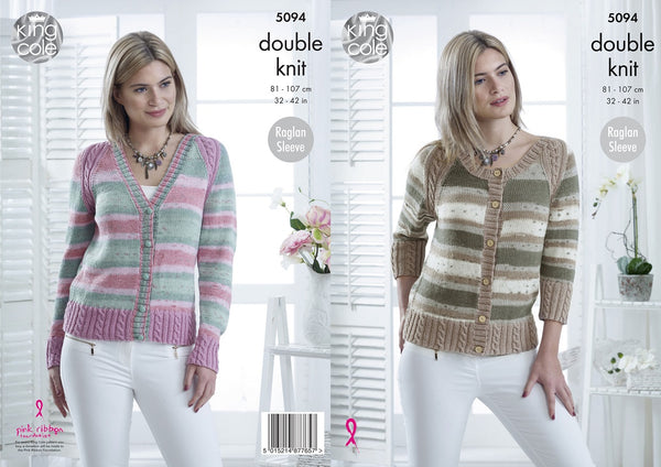King Cole 5094 - Ladies Cardigans in DK Yarn Pattern