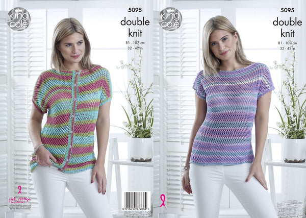King Cole 5095 - Ladies Cap Sleeved Top & Cardigan in DK Yarn Pattern