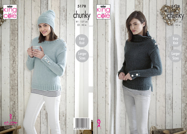 King Cole 5178 - Ladies Sweaters & Hat in Timeless Chunky Knitting Pattern