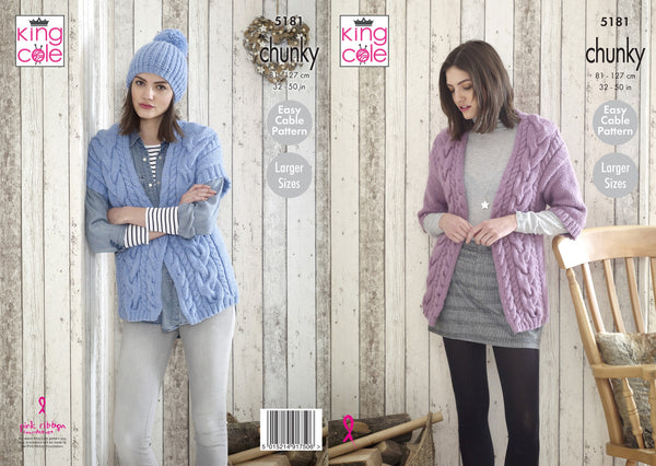 King Cole 5181 - Ladies Jacket, Waistcoat & Hat in Timeless Chunky Knitting Pattern