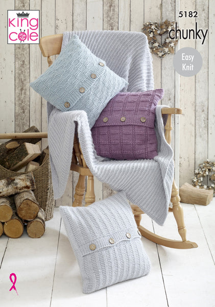 King Cole 5182 - Cushions & Blanket in Timeless Chunky Knitting Pattern