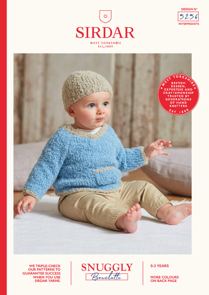 Sirdar 5256 - Baby's V Neck Sweater & Hat in Snuggly Bouclette Pattern - The Crafty Knitter