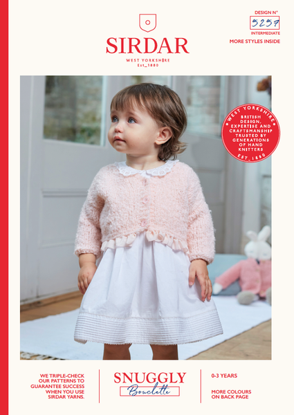 Sirdar 5257 - Baby's V Neck Cardigan & Doll Cardigan in Snuggly Bouclette Pattern - The Crafty Knitter