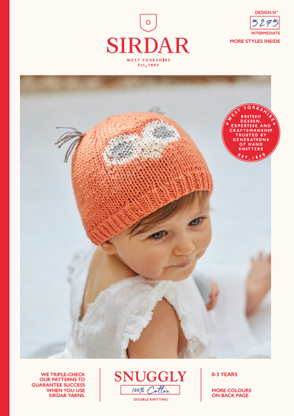 Sirdar 5275 - Baby's Owl Hats in Snuggly 100% Cotton DK Pattern - The Crafty Knitter