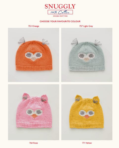 Sirdar 5275 - Baby's Owl Hats in Snuggly 100% Cotton DK Pattern Back - The Crafty Knitter