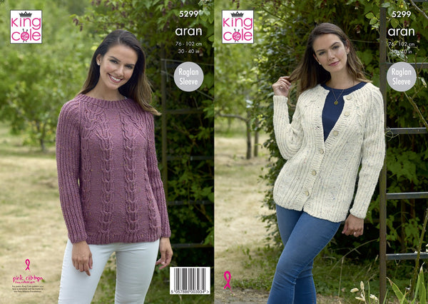 King Cole 5299 - Ladies Aran Sweater & Cardigan Knitting Pattern