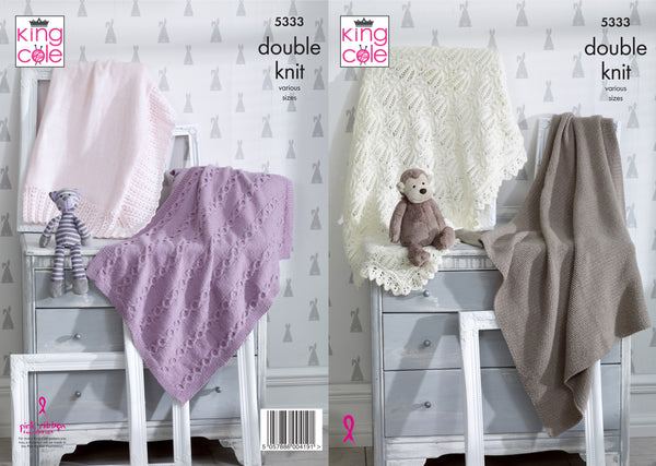 King Cole 5333 - Blankets in DK Knitting Pattern