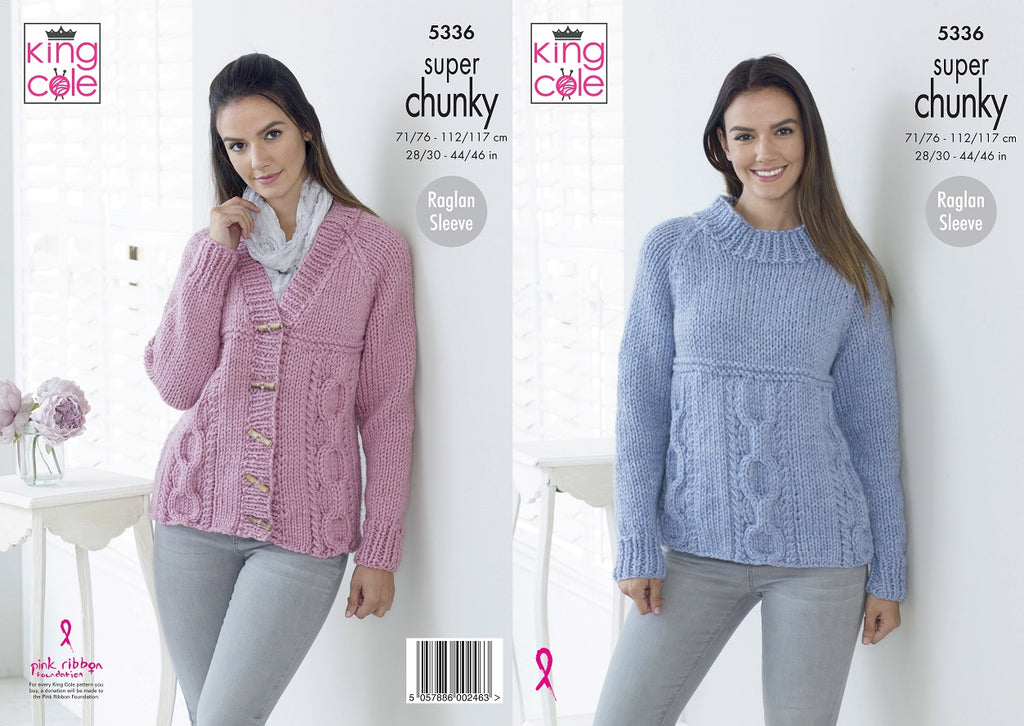King Cole 5336 - Sweater & Cardigan in Super Chunky Knitting Pattern ...