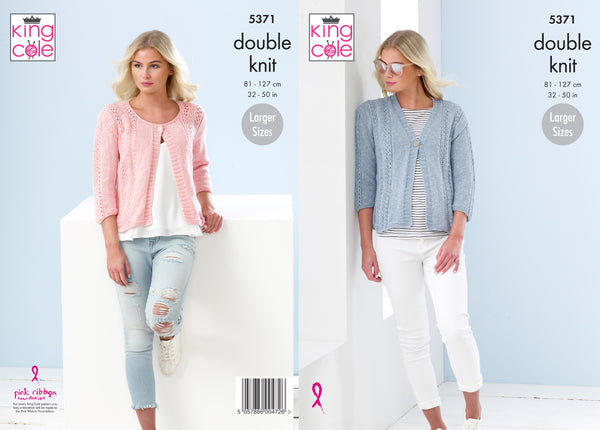 d1f8f8663 King Cole 5371 - Ladies Cardigans in Cotton Top DK Pattern - The Crafty  Knitter