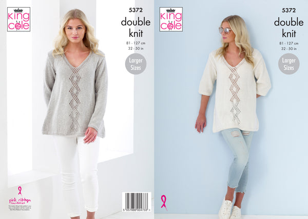King Cole 5372 - Ladies Sweaters in Cotton Top DK Pattern - The Crafty Knitter
