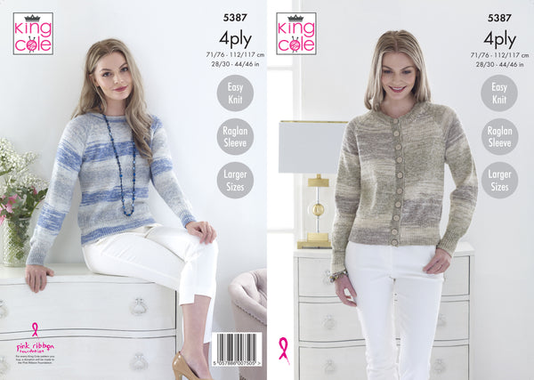 King Cole 5387 - Ladies Cardigan & Sweater in 4 Ply Knitting Pattern