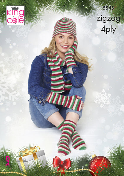 King Cole 5545 - Hat, Scarf, Fingerless Gloves & Socks in ZigZag 4 Ply Knitting Pattern