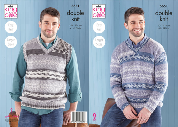 King Cole 5651 - Mens Sweater & Tank Top in Fjord DK Pattern