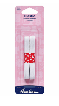 General Purpose Braided White Elastic 2m x 9mm