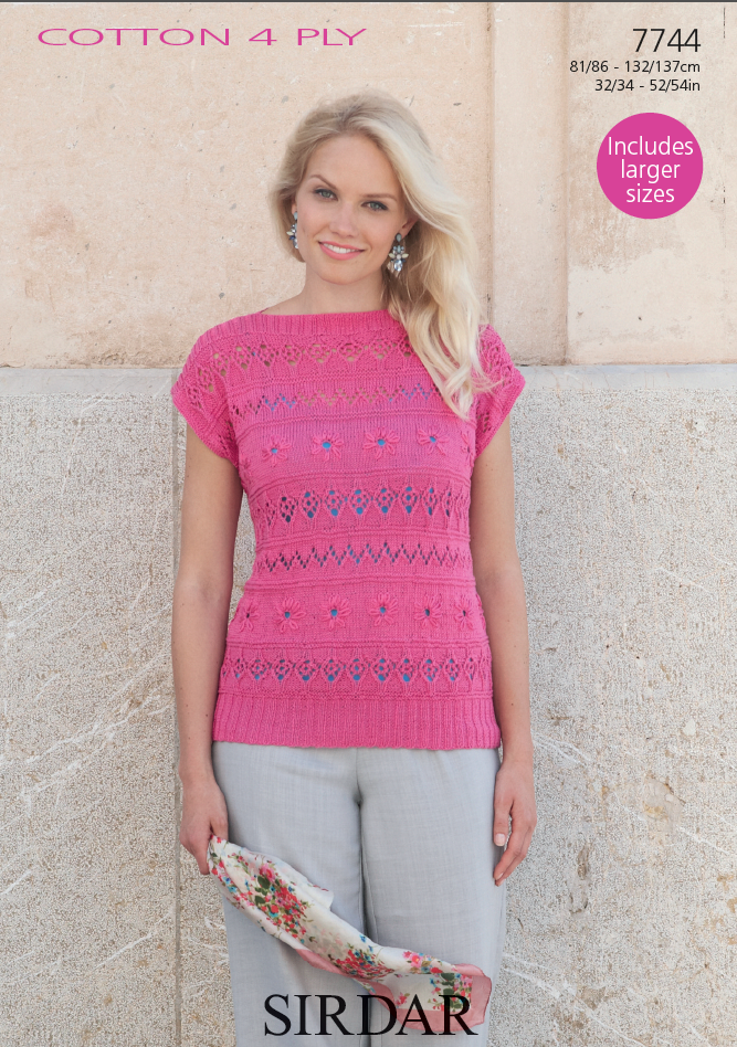 Sirdar 7744 - Ladies Top in Sirdar Cotton 4 Ply Pattern - The Crafty Knitter Ltd - 1