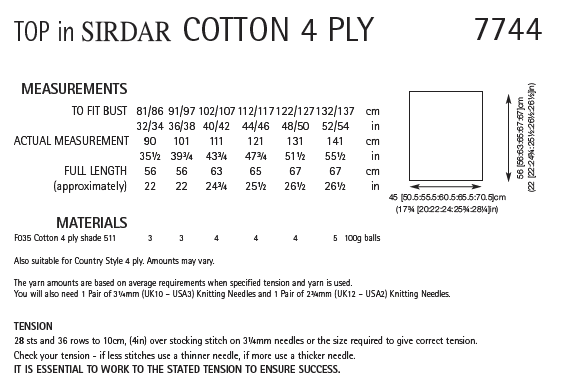 Sirdar 7744 - Ladies Top in Sirdar Cotton 4 Ply Pattern - The Crafty Knitter Ltd - 2