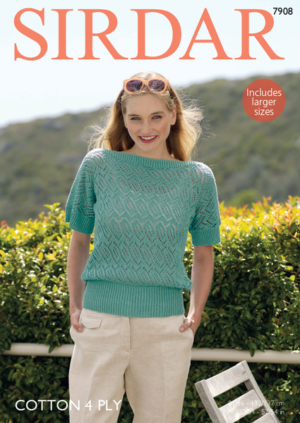 Sirdar 7908 - Ladies T Shaped Lace Top in Sirdar Cotton 4 Ply Pattern - The Crafty Knitter Ltd - 1