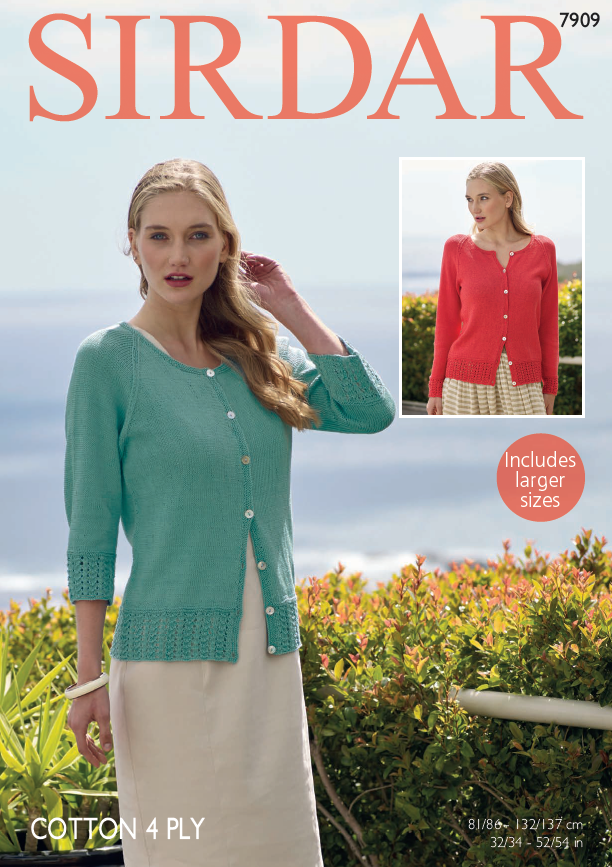 Sirdar 7909 - Ladies Cardigan in Sirdar Cotton 4 Ply Pattern - The Crafty Knitter Ltd - 1