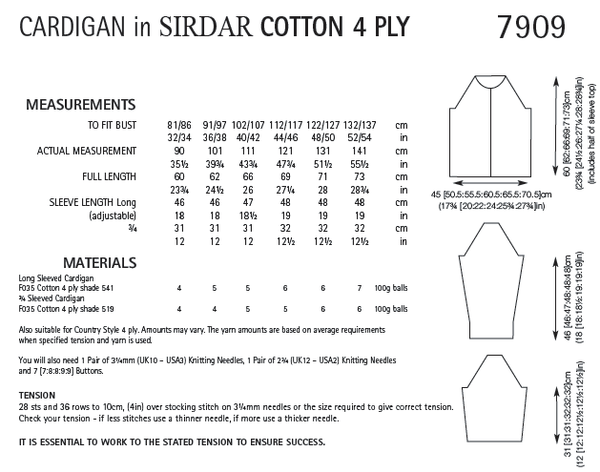 Sirdar 7909 - Ladies Cardigan in Sirdar Cotton 4 Ply Pattern - The Crafty Knitter Ltd - 2