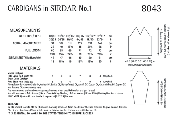 Sirdar 8043 - Cardigans in Sirdar No.1 Pattern - PDF Download - The Crafty Knitter