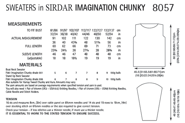 Sirdar 8057 - Sweaters in Sirdar Imagination Chunky Pattern - PDF Download - The Crafty Knitter