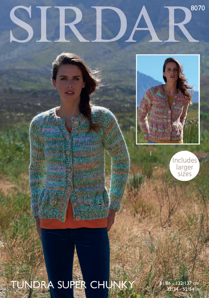 Sirdar 8070 - Ladies Cardigans in Sirdar Tundra Super Chunky Pattern - PDF Download - The Crafty Knitter
